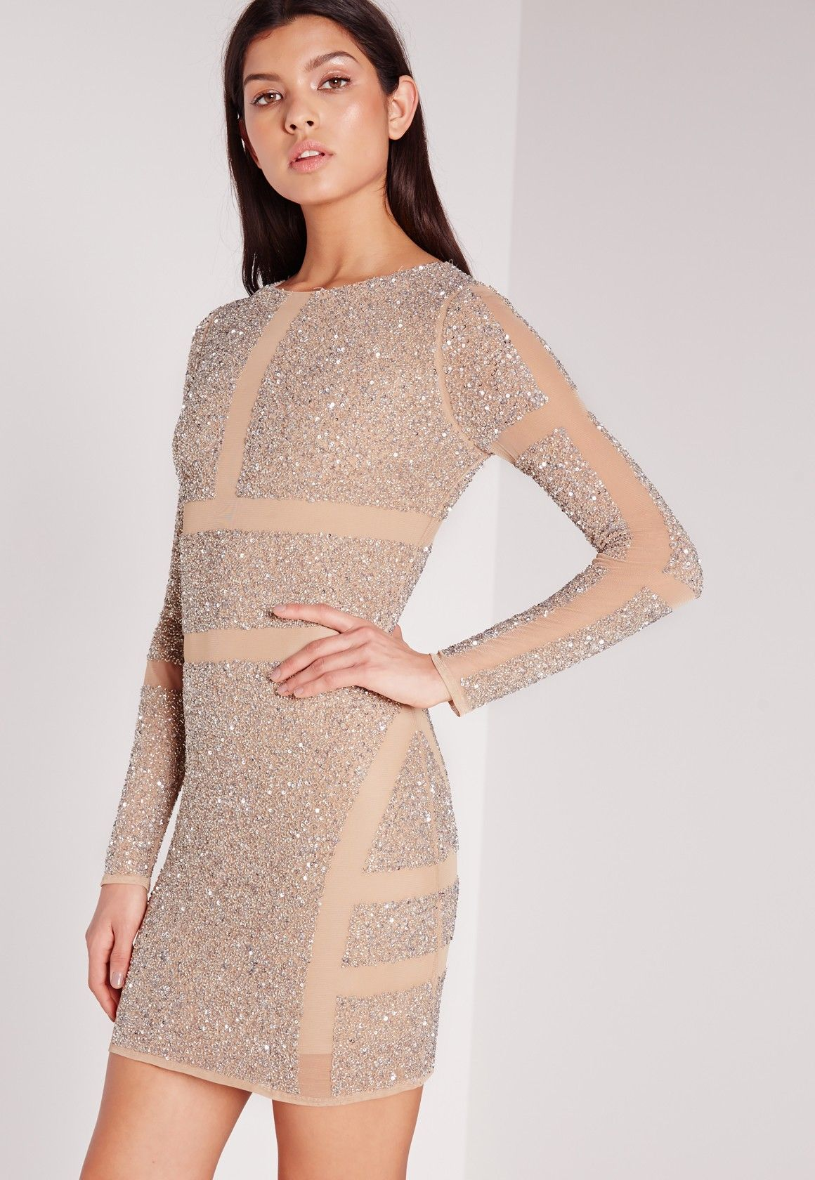 Premium Embellished Mesh Cut Out Mini Dress Silver