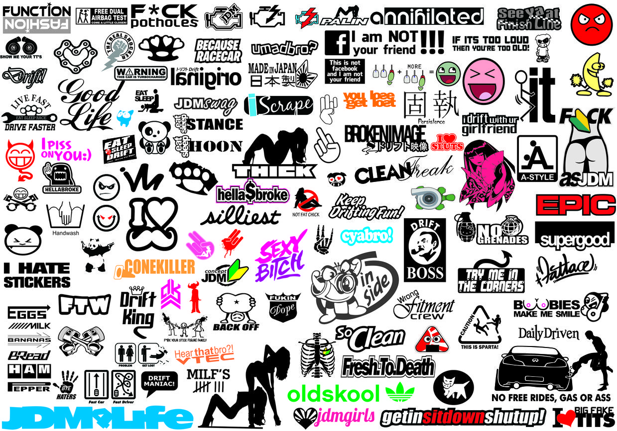 Jdm Funny Car Decal Vector Collection 1 To 10 Bonus Vdub Vw Collection Funny Bumper Stickers Funny Car Decals Jdm [ 867 x 1239 Pixel ]