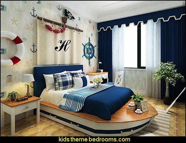 Children 27s Room Wallpaper Boat Bed Jpg 604 463 Nautical