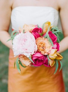 beautiful orange and pink bouquet