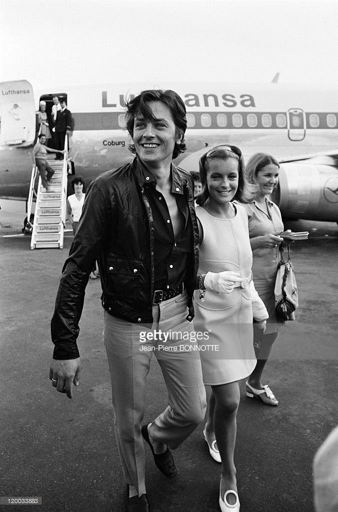 French actor <a gi-track='captionPersonalityLinkClicked' href=/galleries/search?phrase=Alain+Delon&family=editorial&specificpeople=228460 ng-click='$event.stopPropagation()'>Alain Delon</a> welcomes Austrian born actress <a gi-track='captionPersonalityLinkClicked' href=/galleries/search?phrase=Romy+Schneider&family=editorial&specificpeople=672667 ng-click='$event.stopPropagation()'>Romy Schneider</a> at Nice airport before travelling to the set of the the movie 'The Swimming Pool' (La…