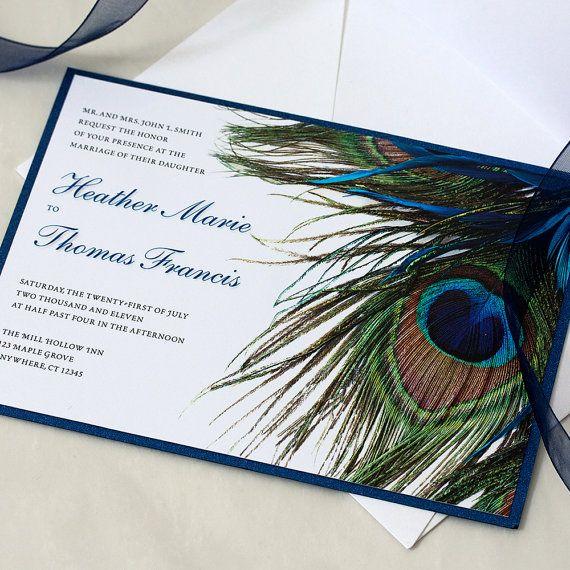 Peacock Wedding Invitation Peacock Wedding Peacock Feather