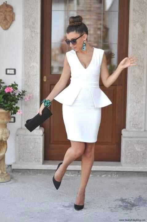 adorable white peplum dress with classic accessories