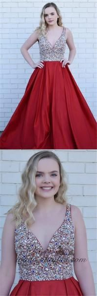 A-Line Deep V-Neck Long Cheap Red Satin Backless Prom Dresses with Beading, TYP1351 A-Line Deep V-Neck Long Cheap Red Satin Backless Prom Dresses with Beading, TYP1351