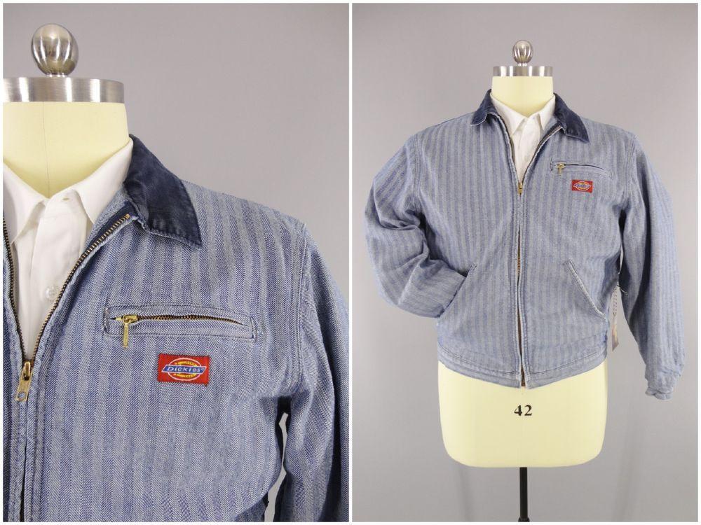 1960s Vintage Dickies Blanket Lined Herringbone Twill Denim Engineers Jacket Xl Dickies Lined Denim Jacket Jackets Vintage Coat