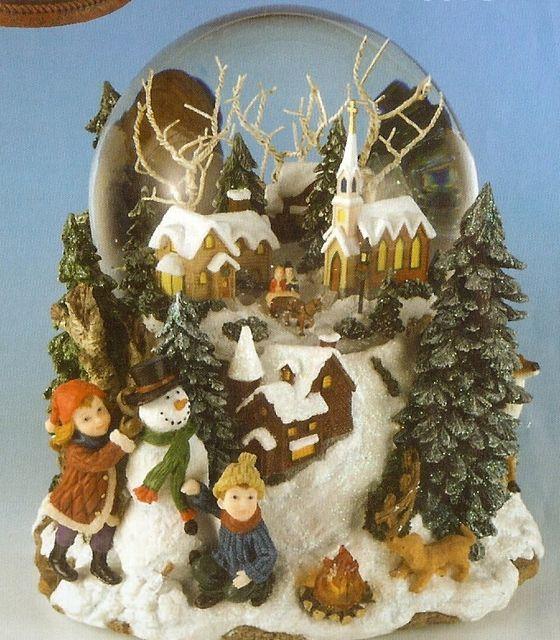 schneekugel spieluhr winterlandschaft mit licht und automatischem schneien spieluhren. Black Bedroom Furniture Sets. Home Design Ideas