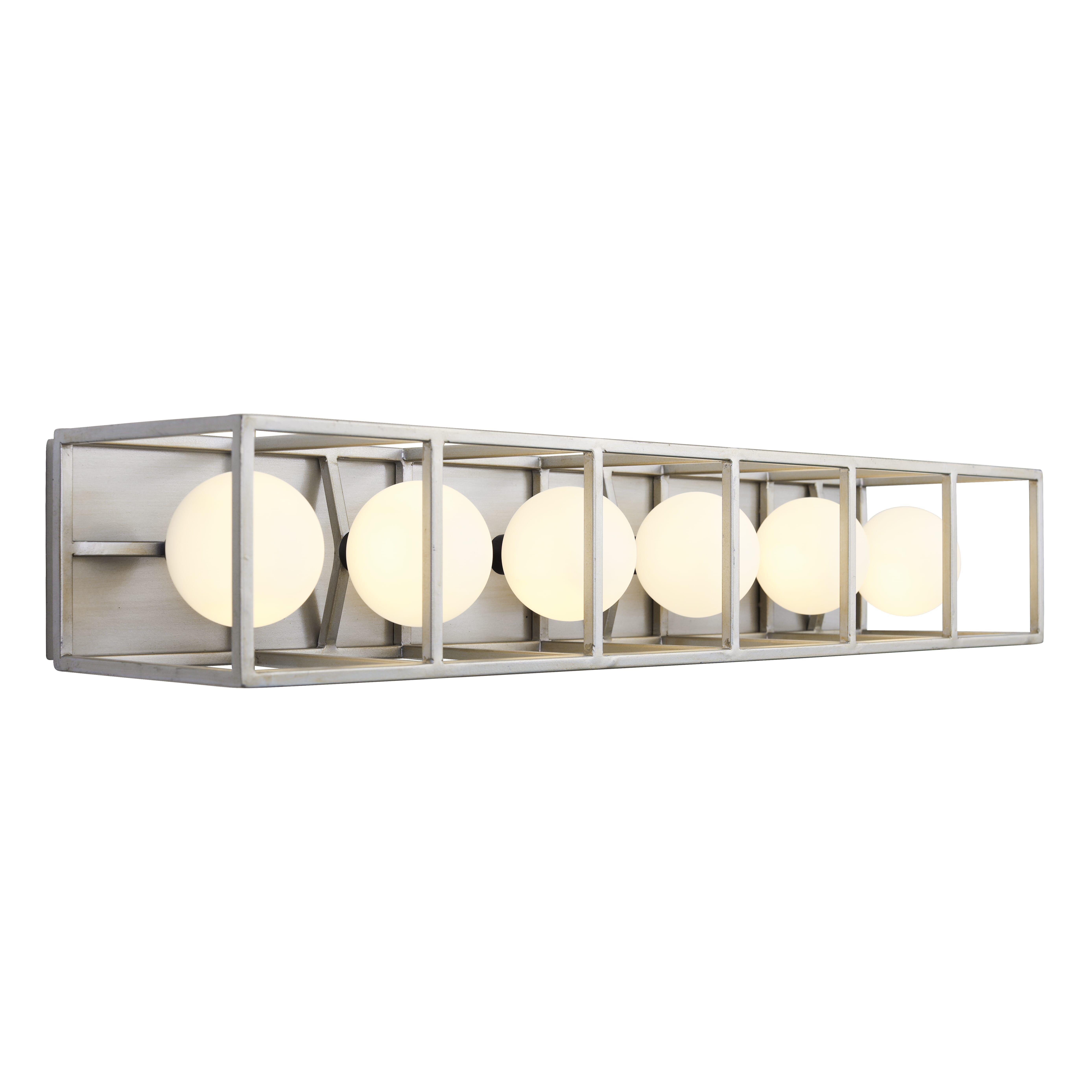 Photo of Varaluz Plaza 6-Light 5″ Bathroom Vanity Light in Silverado with Carbon