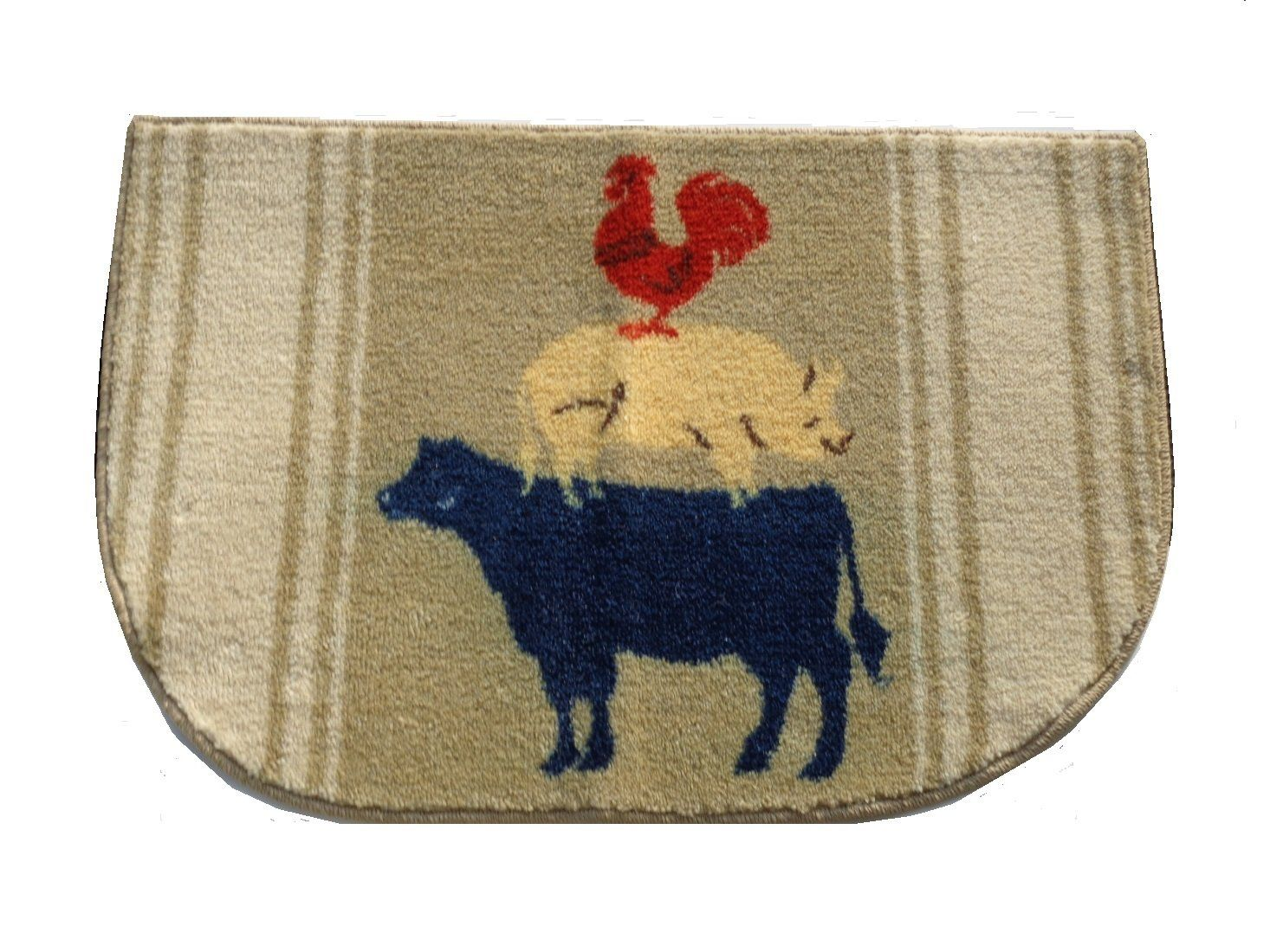 Cow Pig Rooster Kitchen Rug Country Decor Add Some Farm Charm To Your With This That Features Stacked Animals 23 95