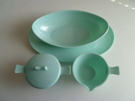 Aqua Turquoise Melmac serving set, got one piece of this set today!