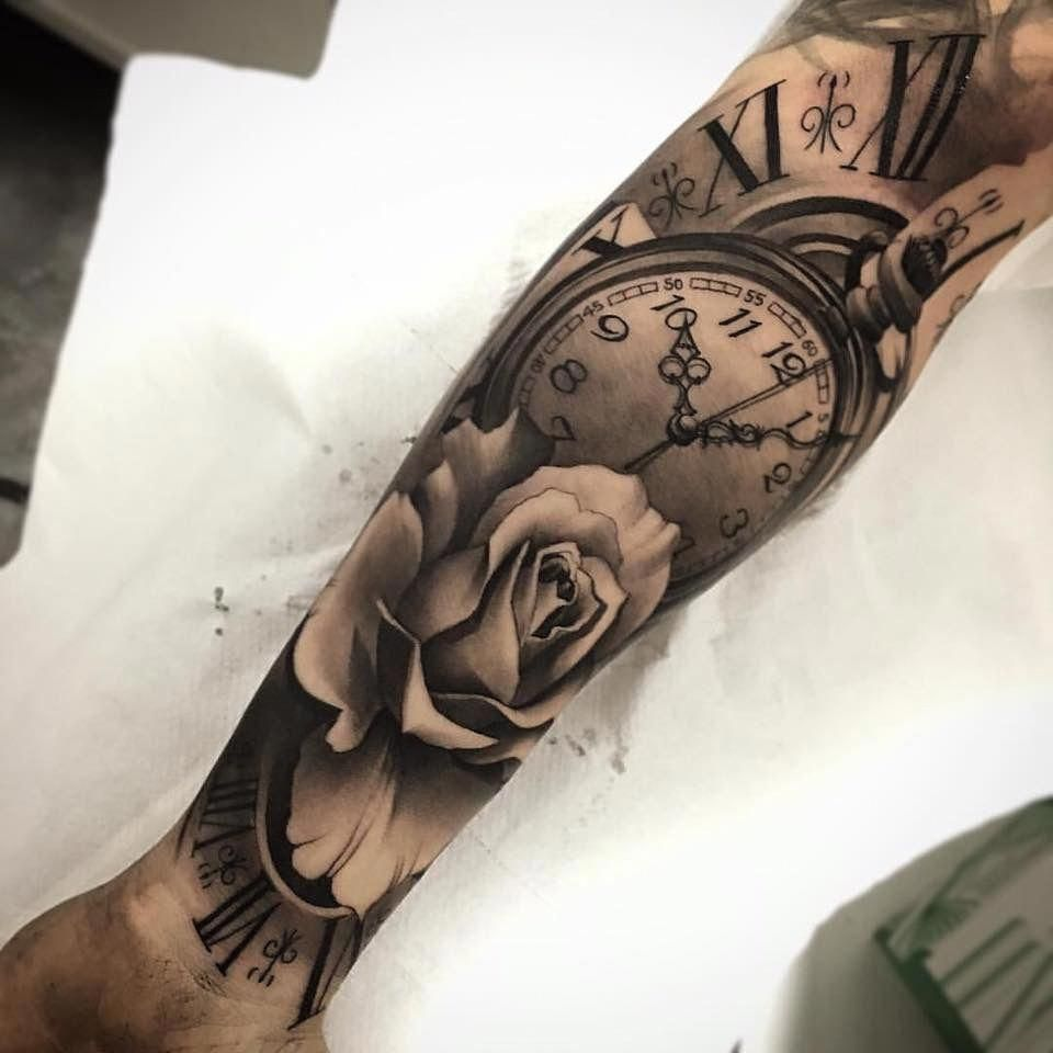 Rose Clock Tattoo Arm Sleeve Special Moment Endless Love Tattoosformen Half Sleeve Tattoo Half Sleeve Tattoos For Guys Tattoo Sleeve Designs