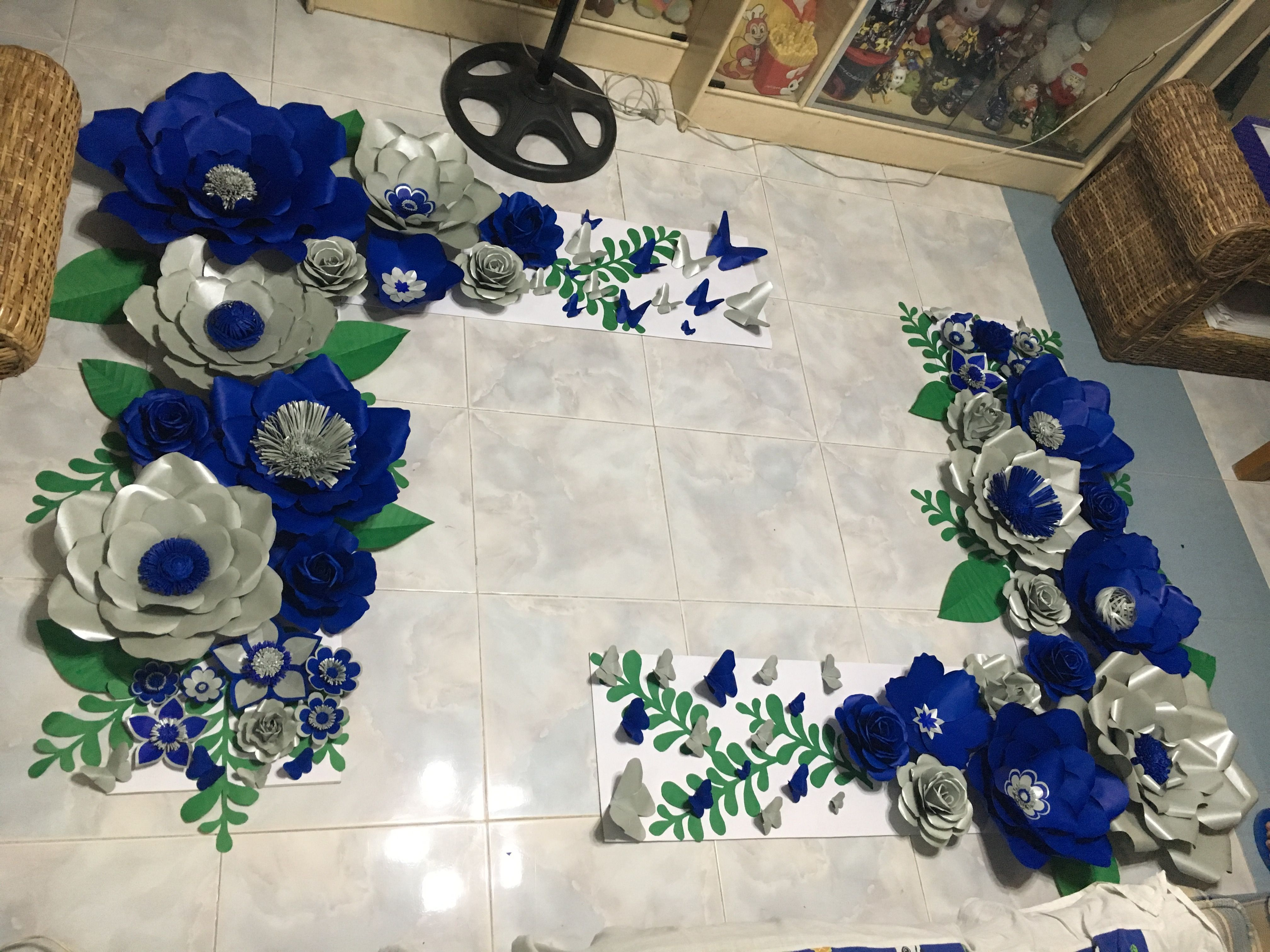 Royal Blue And Silver Paper Flower Backdrop By Gelle Diy Paper