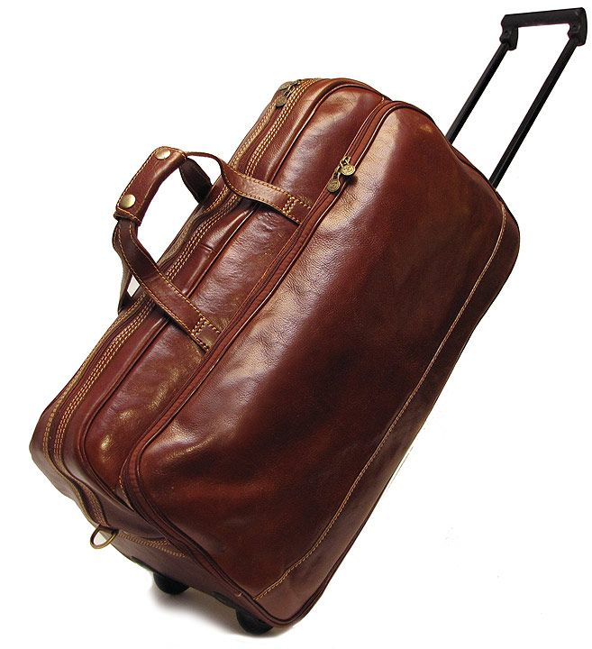 Floto Small Milano Trolley Wheeled Luggage Brown | Italian leather
