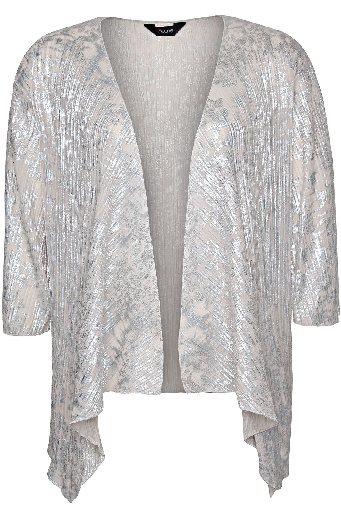 Cream Silver Foil Print Crinkle Kimono Shrug With Waterfall Front ...