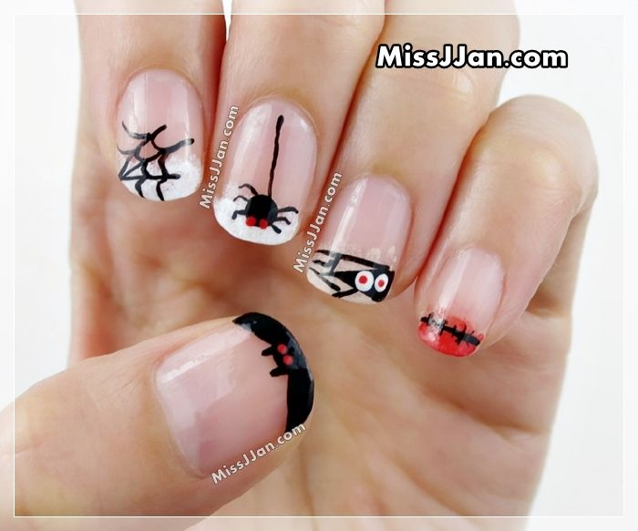 In this video, I'm going to show you 5 MORE cute and easy Halloween nail  designs.in French manicure style :D This time I used 4 colors (plus base. - Halloween Nail Art 5 Cute And Easy Designs French Manicure Style