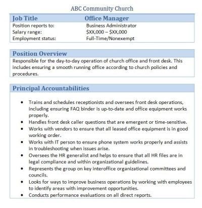 Church Forms And Job Descriptions Smart Church Management Office Manager Job Description Office Manager Jobs Job Description