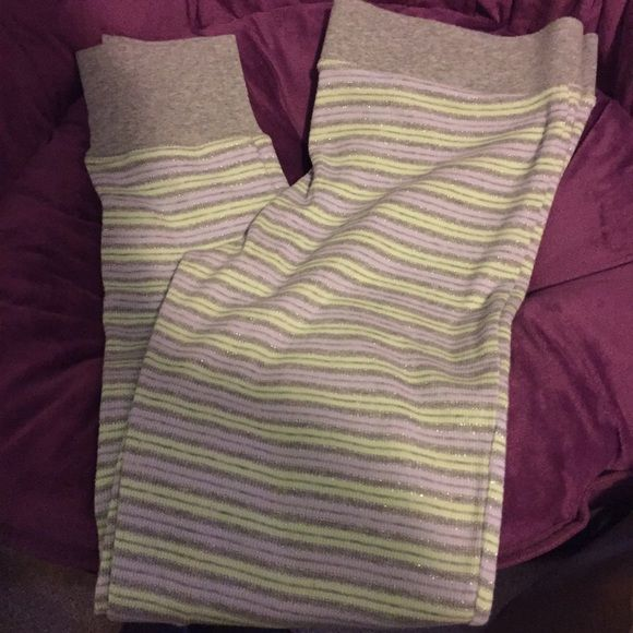 Victoria's Secret thermal pants Worn maybe 2 times. Purple/green/grey with cute button details. Victoria's Secret Pants