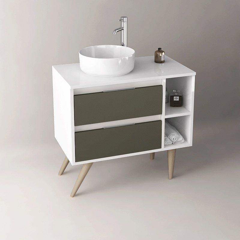 Meuble A Poser Blanc Et Graphite 80 Cm Tropcoul Avec Images Meuble Salle De Bain Meuble Sous Lavabo Meuble Double Vasque