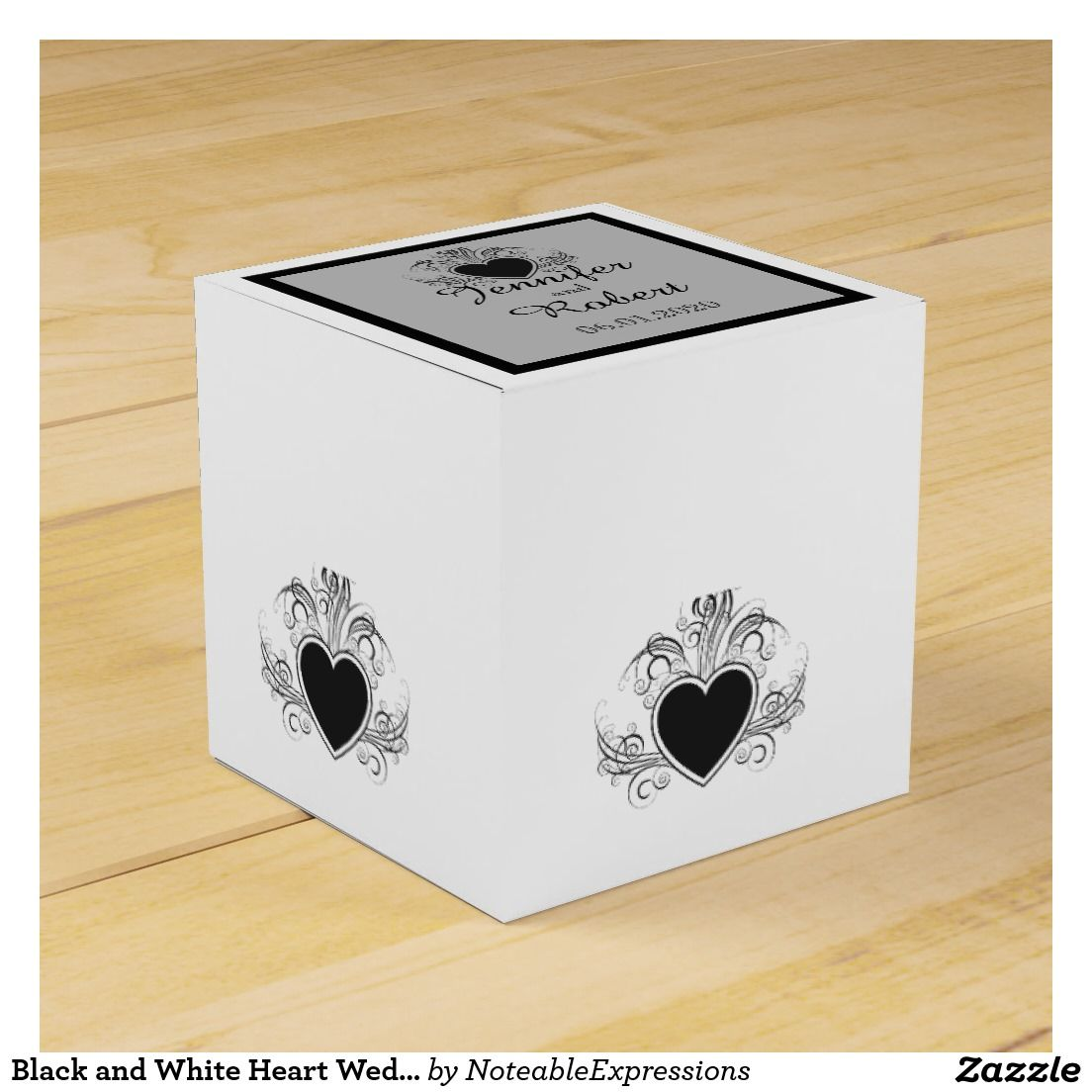 Black and White Heart Wedding Favor Box | Wedding : Favor Boxes ...