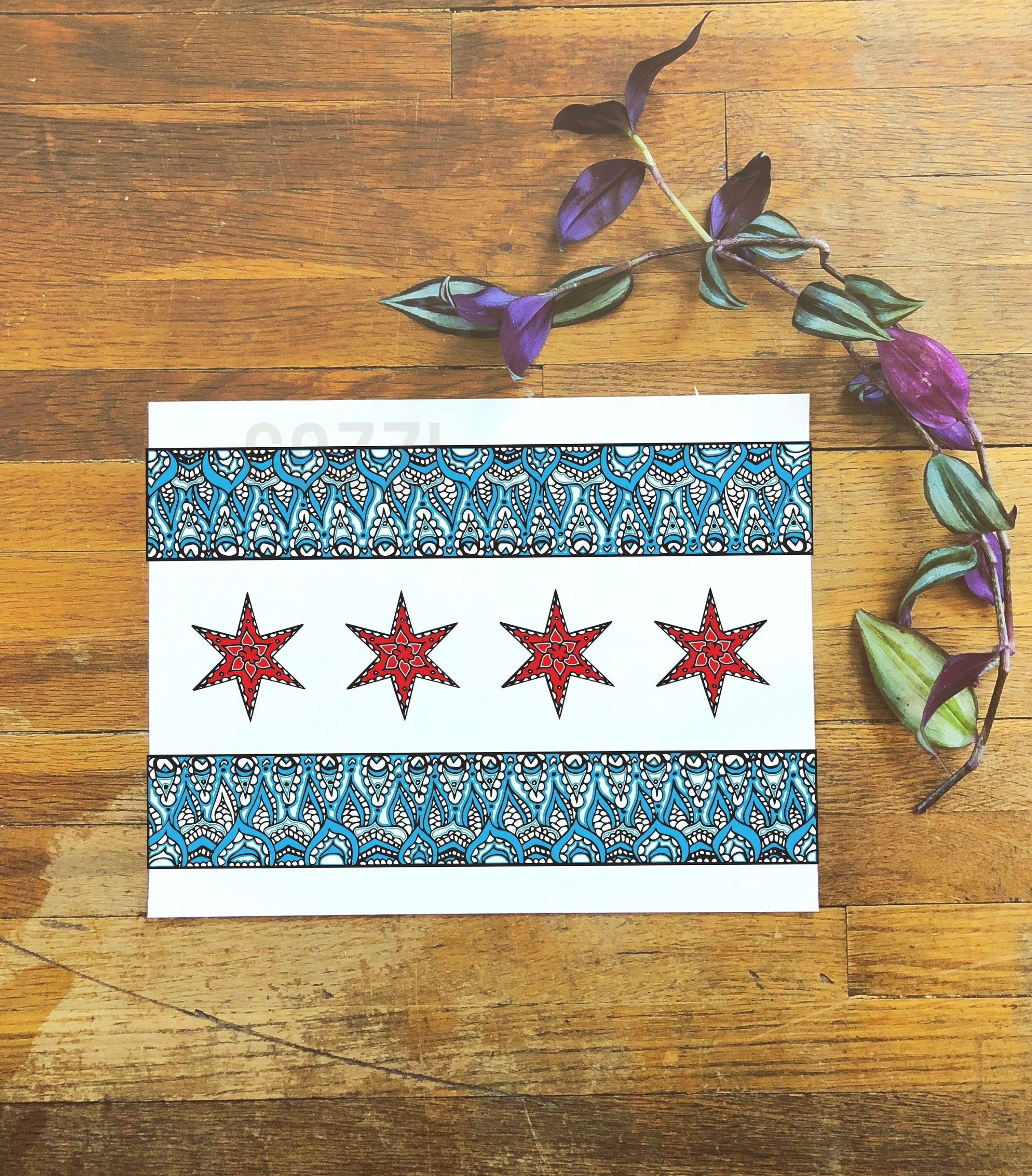Chicago Flag Art Print 14x11 Inches In 2020 Chicago Flag Art Chicago Art Print Chicago Flag