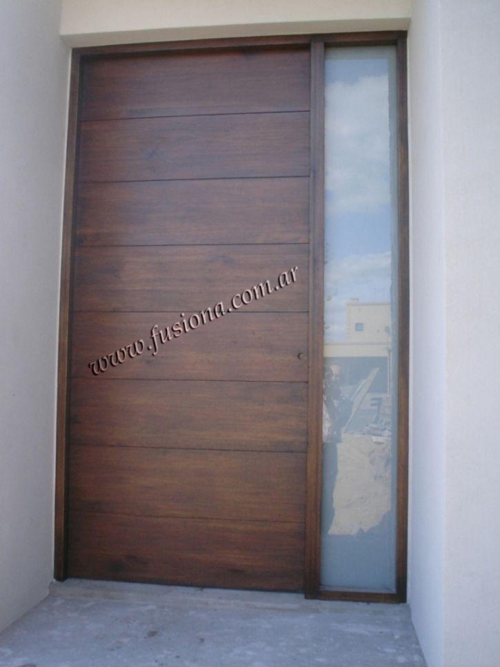 M012 2 puerta de madera con pa o fijo vidriado for Puertas de entrada modernas