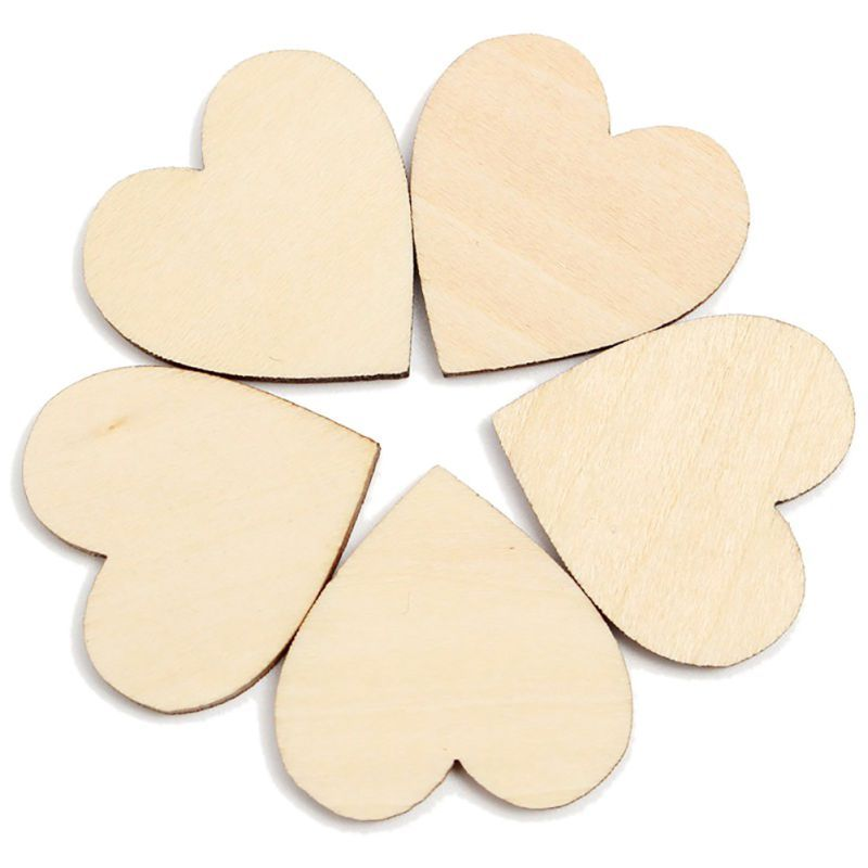 50pcs Wooden Love Heart Shapes Craft Shapes Large /& Small Wood Embellishments