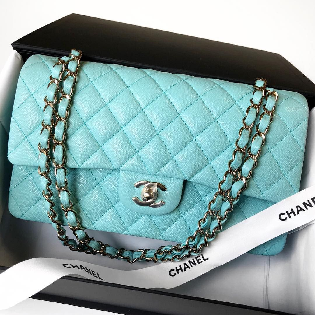 7c7d118af235 Who else is loving this Light Blue (Tiffany Blue) color from 19c ! 💙💎Just  arrived! Authentic Chanel Light Blue Caviar Medium Flap with gold…