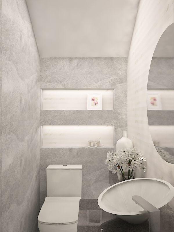 Medio Bano Contemporaneo Bano Blanco Muro Tipo Piedra Nichos