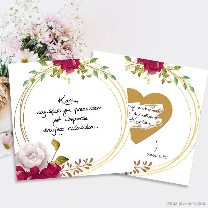 W Mega Zostaniesz moją świadkową kwiaty bordowe na kole 2- kartka zdrapka YG57