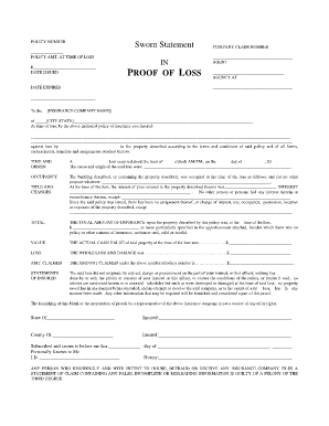 Sworn Statement In Proof Of Loss Example  Wallis Claim Info