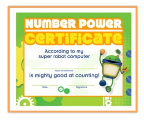 Let kids know theyu0027re great at counting with Botu0027s Number Power - certificate of achievement for kids