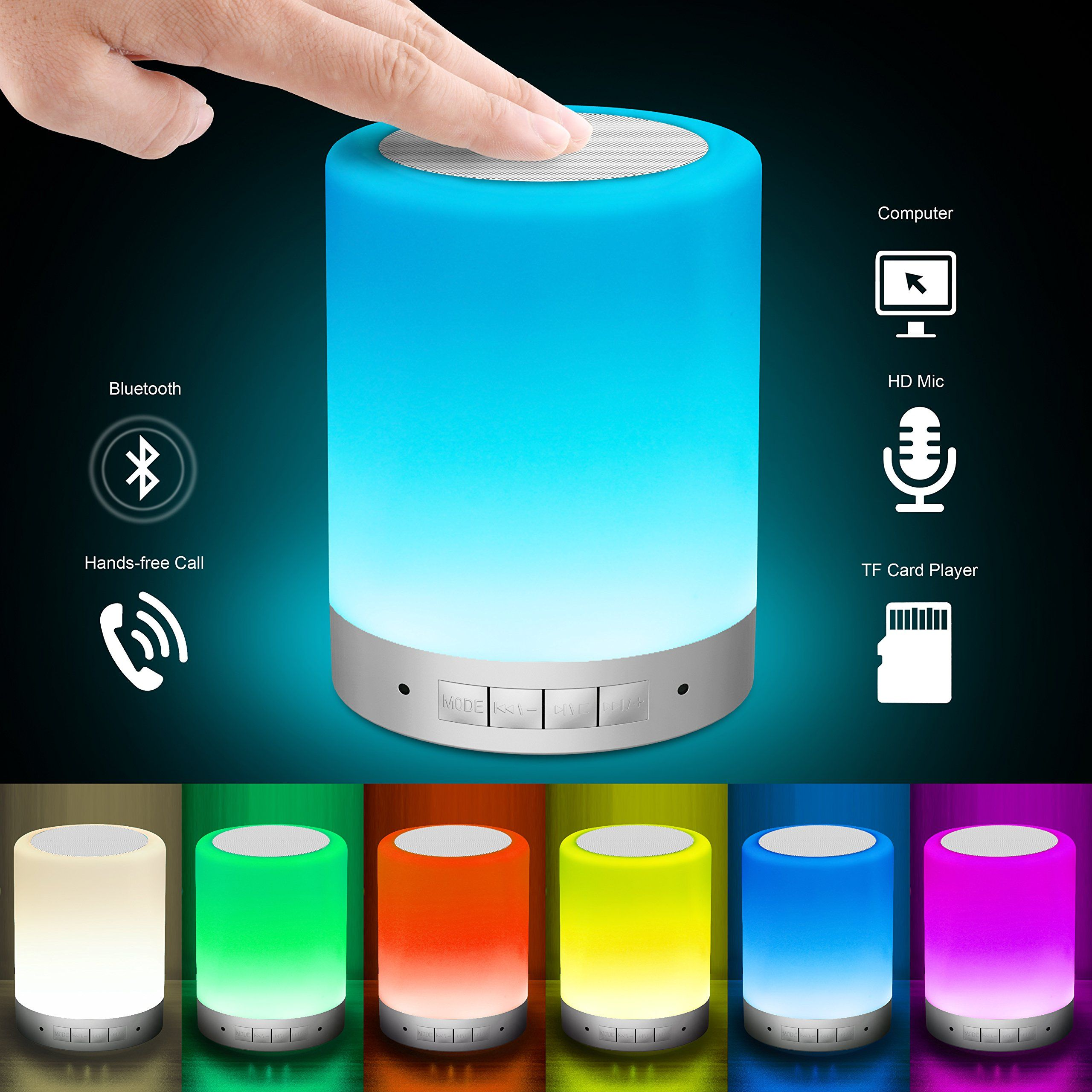 Elecstars bedside lamp touch control table lamp with wireless elecstars bedside lamp touch control table lamp with wireless bluetooth speaker dimmable warm night aloadofball Gallery