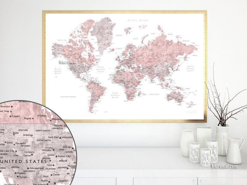 Dusty pink and grey printable watercolor world map with cities and dusty pink and grey printable watercolor world map with cities and capitals large 36x24 gumiabroncs Image collections