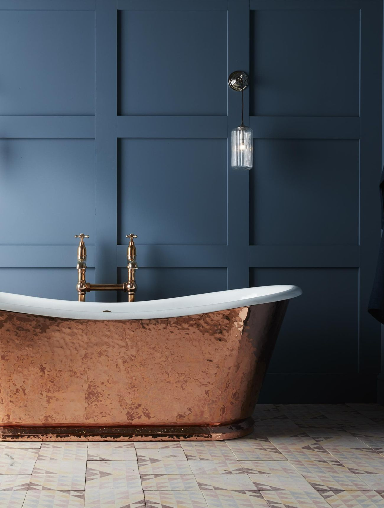 The Hammered Copper Wye cast iron bateau bath tub | Bathrooms ...