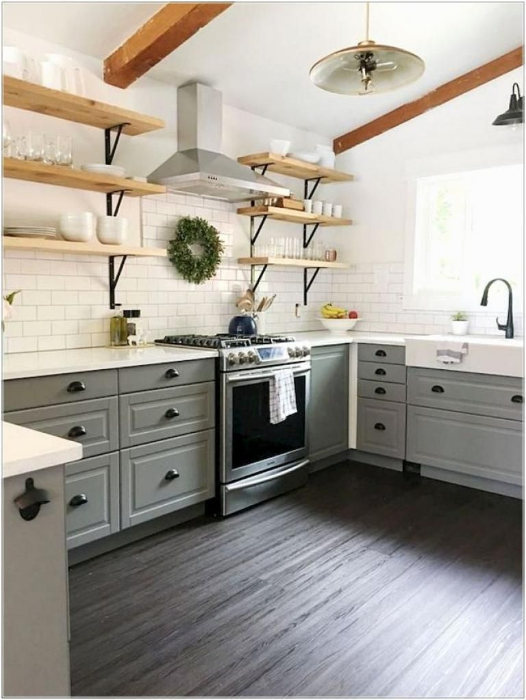 40 Rustic Modern Farmhouse Kitchen Design Ideas #modelkitchendesign
