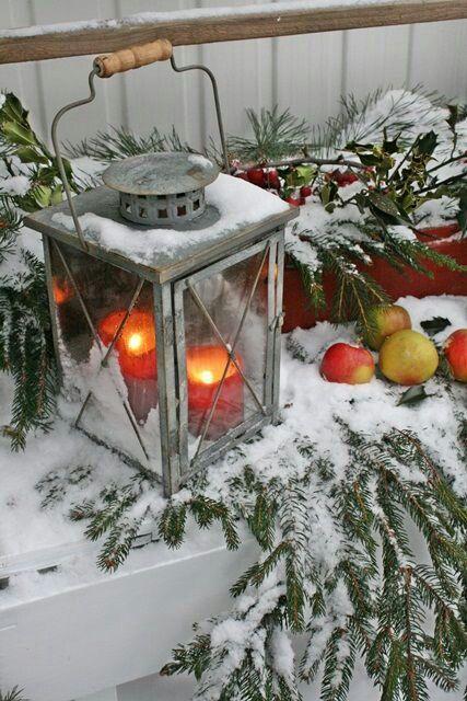 Winter porch decoration.