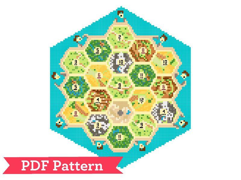 Settlers Of Catan Board Cross Sch Pattern
