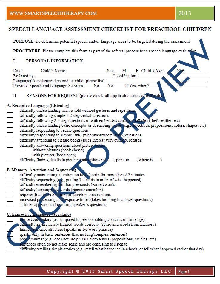 Speech Language Assessment Checklist For Preschool Children