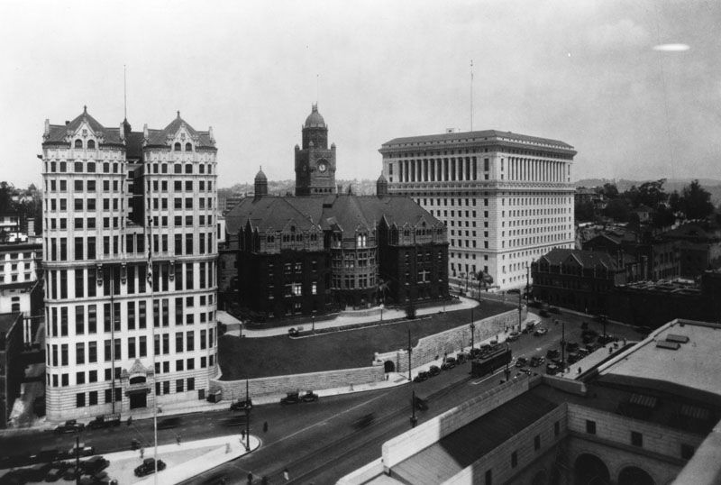 Ca 1928 View Looking Northwest From City Hall Toward The Hall Of Records County Courthouse And Hall Of Just City Library City Hall Northridge Earthquake