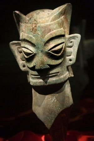 Sanxingdui culture bronze head, State of Shu (蜀), an ancient state in what is now Sichuan, China. Shu was based on the Chengdu Plain, in the western Sichuan basin. This independent Shu state was conquered by the state of Qin in 316 BC, but recent archaeological discoveries at Sanxingdui and Jinsha thought to be sites of Shu culture indicate the presence of a unique civilization in this region before the Qin conquest.