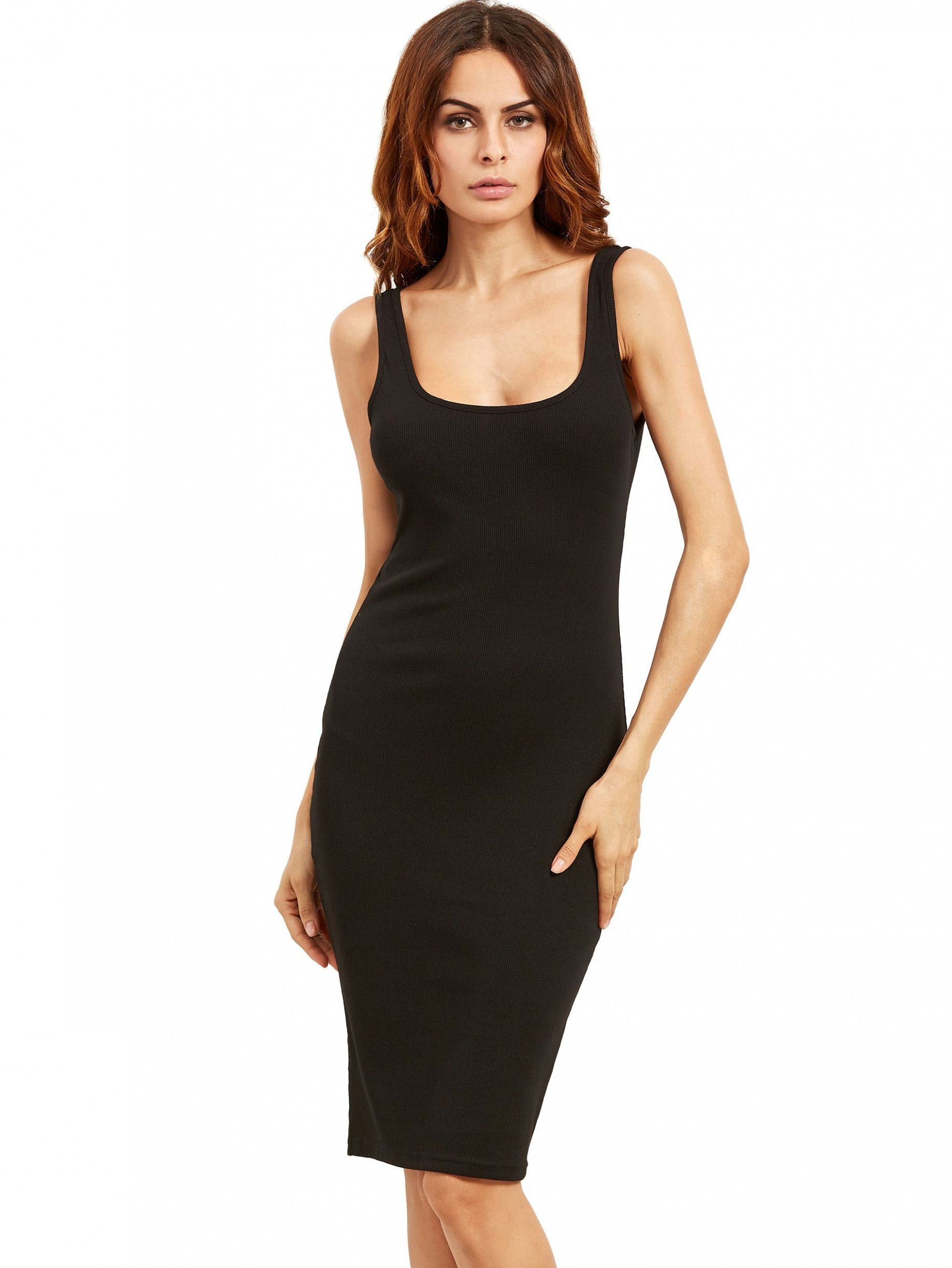 12 schwarzes kleid knielang | schwarzes kleid, tank kleid