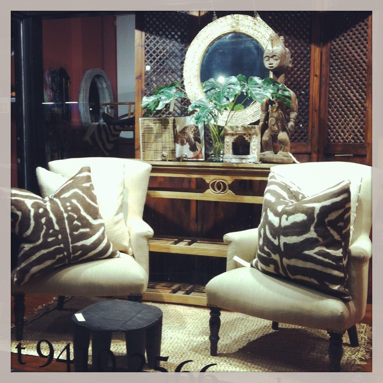 Reupholstered Vintage Chairs In Ralph Lauren With Custom Ralph Lauren  Zebra/Serengeti Cushions. Fig