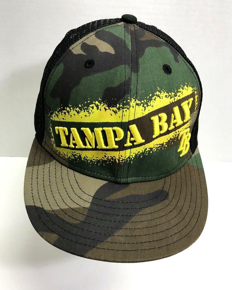 Details about Tampa Bay Rays MLB Baseball Hat Fitted Mesh Camouflage