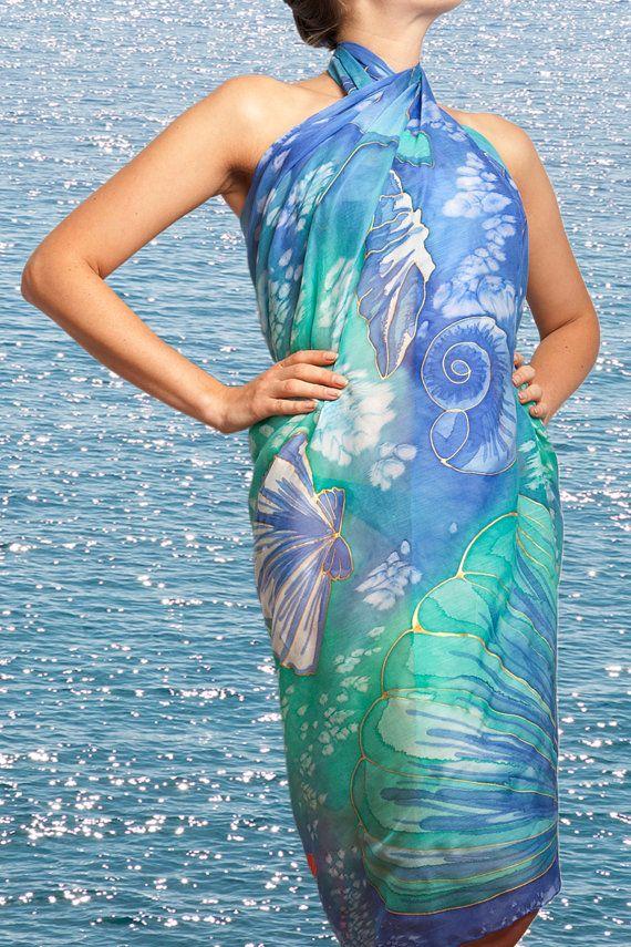 MADE TO ORDER Elegant  Hand Painted Silk  Cotton  Beach Sarong  Seashells Star Fish Blue Red Purple Turquese 45 X 54 Summer Fashion
