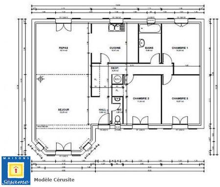 maison plain pied 14m de facade