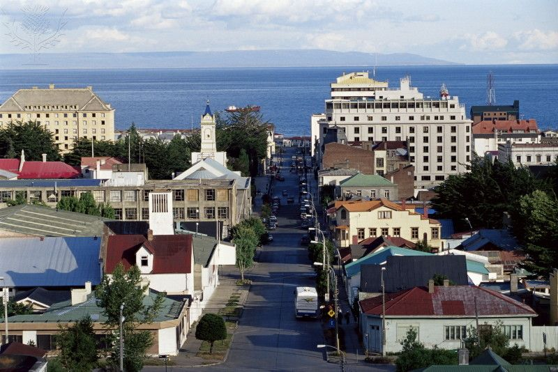 Aerial view of the city, Punta Arenas, Magallanes,...