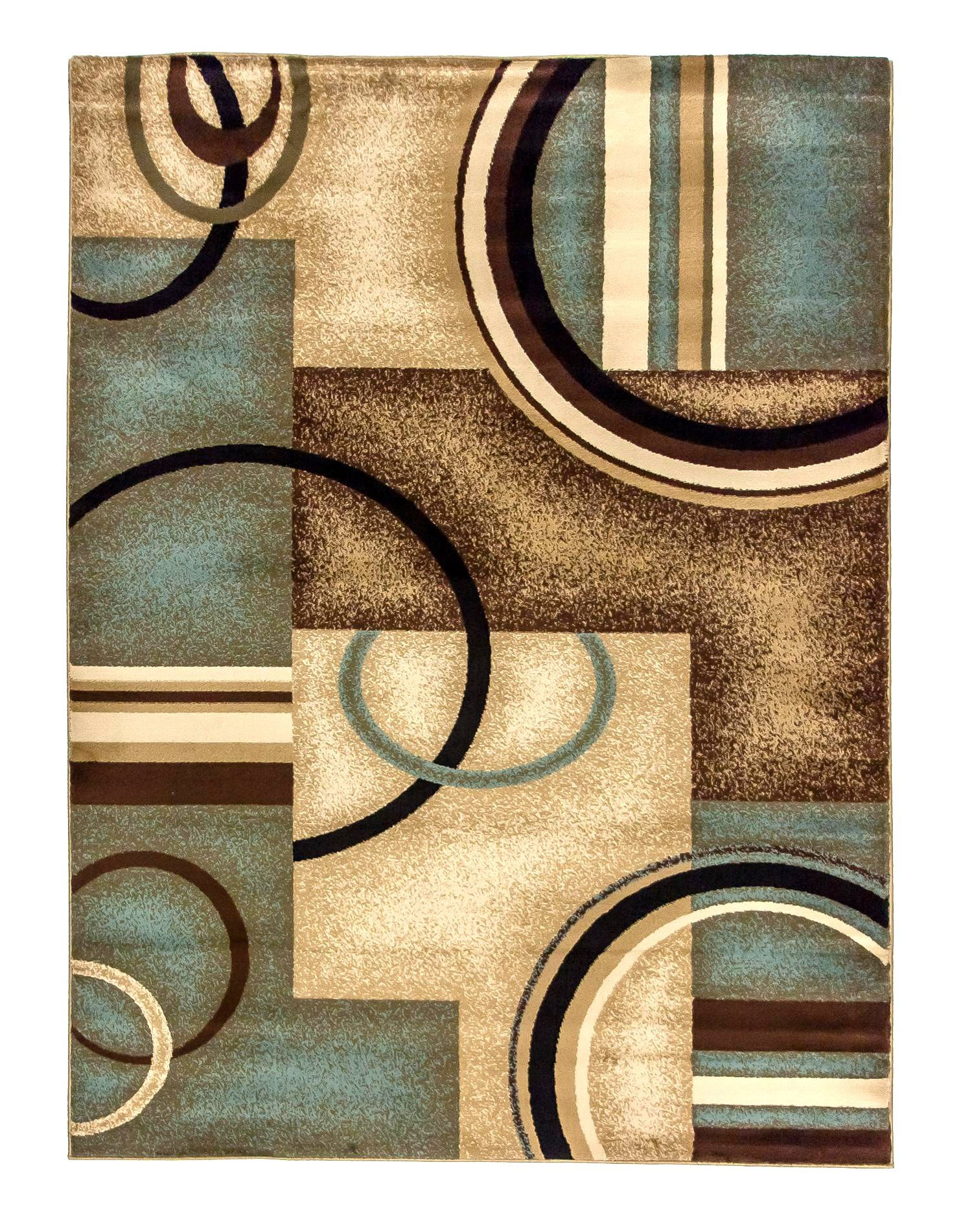 High Quality Contemporary Rugs Inhou Brown And Light Blue $142.00