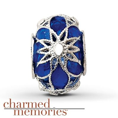 Charmed Memories Heart Charm Blue CZ Sterling Silver sshS2p7Th6