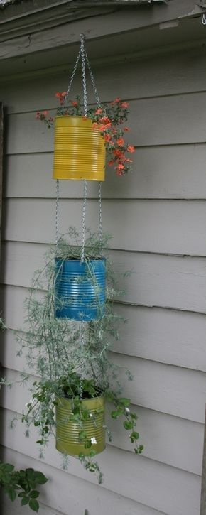 Unique & Fun Container Garden Ideas Use old coffee cans for hanging plantsUse old coffee cans for hanging plants