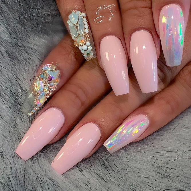 40 Fantastic Designs For Coffin Nails You Must Try Rhinestone Nails Pink Nails Nail Designs