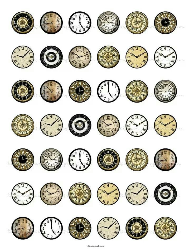 Miniature printable clock faces.   Vintage clock ...